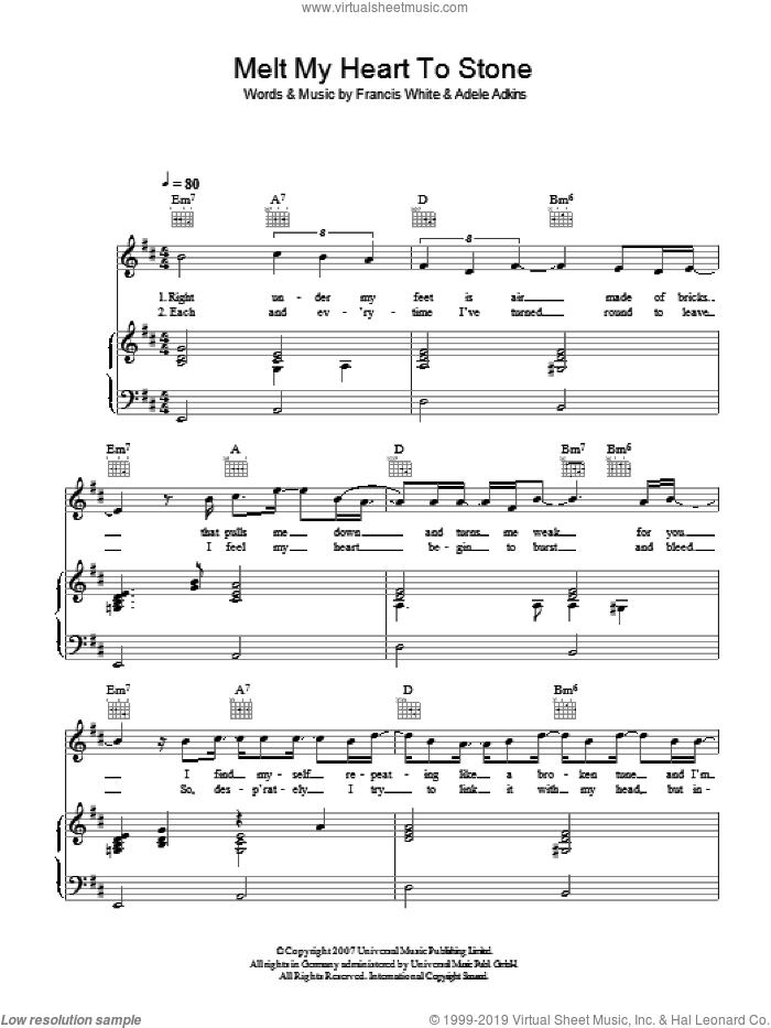 Melt My Heart To Stone sheet music for voice, piano or guitar by Adele, Adele Adkins and Francis White, intermediate skill level