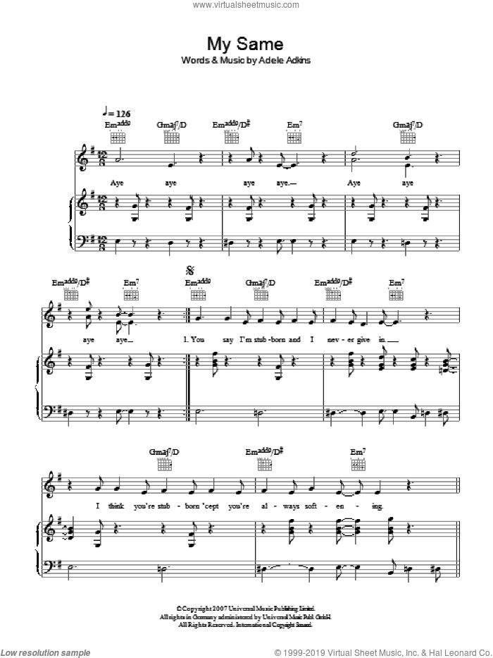 My Same sheet music for voice, piano or guitar by Adele and Adele Adkins, intermediate skill level