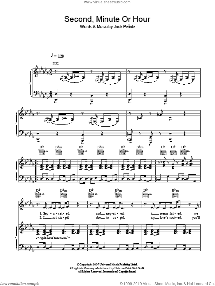 Second, Minute Or Hour sheet music for voice, piano or guitar by Jack Penate, intermediate skill level