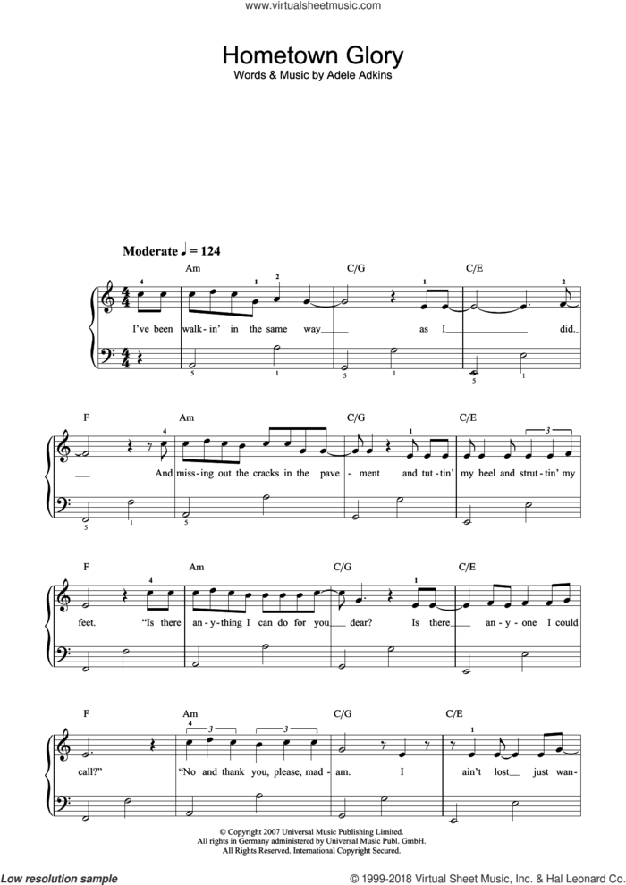Hometown Glory (Radio Edit) sheet music for piano solo (beginners) by Adele and Adele Adkins, beginner piano (beginners)