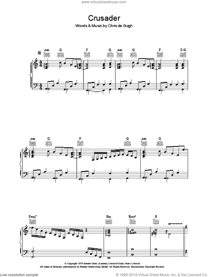 Crusader sheet music for voice, piano or guitar by Chris de Burgh, intermediate skill level