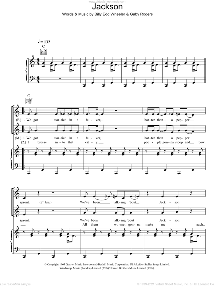 Jackson sheet music for voice, piano or guitar by Johnny Cash & June Carter, Johnny Cash, June Carter, Billy Edd Wheeler and Gaby Rogers, intermediate skill level