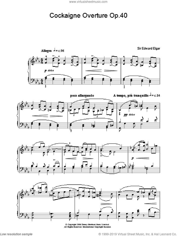 Cockaigne Overture Op.40 sheet music for piano solo by Edward Elgar, classical score, intermediate skill level