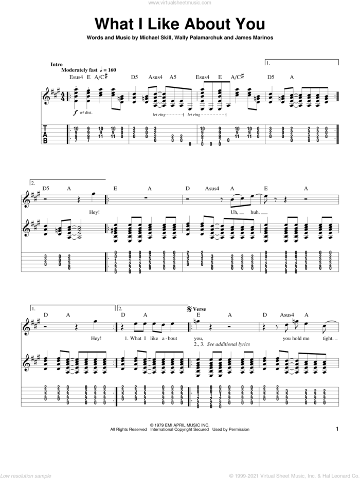 What I Like About You sheet music for guitar (tablature, play-along) by The Romantics, James Marinos, Michael Skill and Wally Palamarchuk, intermediate skill level