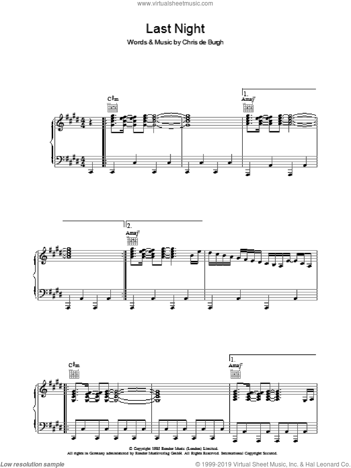 Last Night sheet music for voice, piano or guitar by Chris de Burgh, intermediate skill level