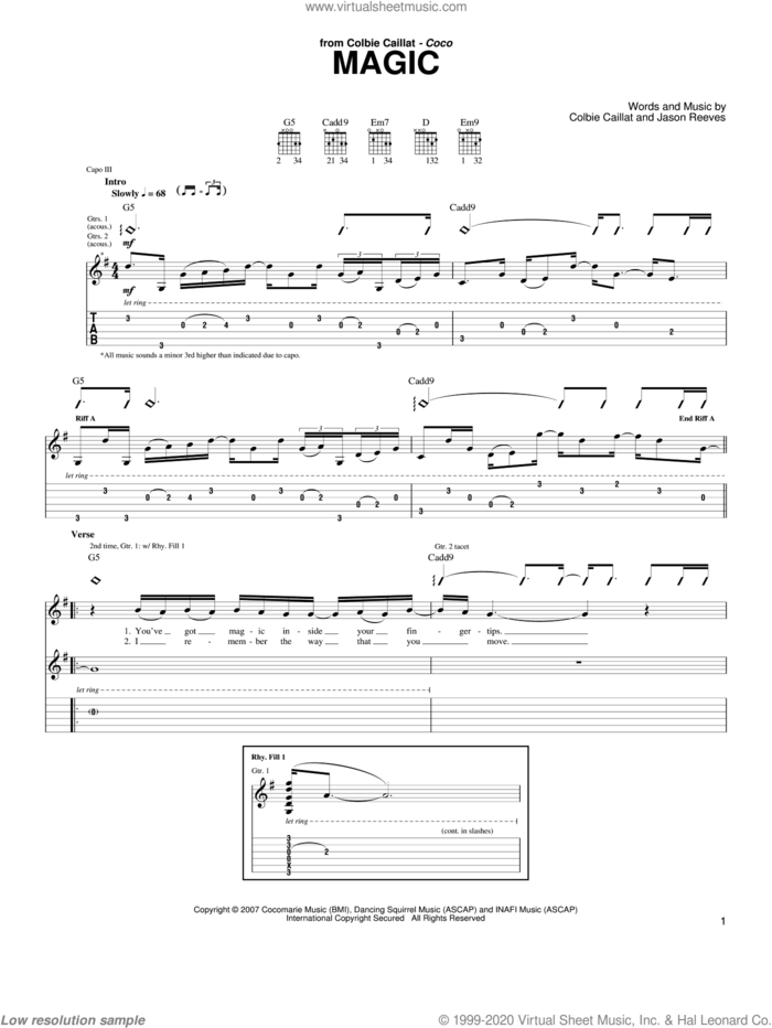 Magic sheet music for guitar (tablature) by Colbie Caillat and Jason Reeves, intermediate skill level