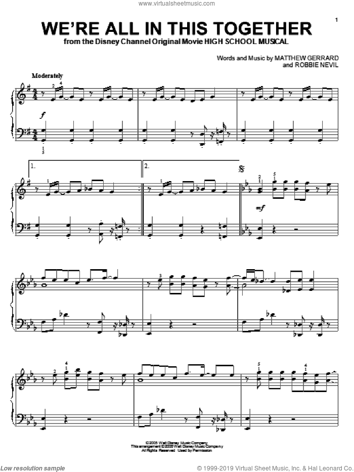 We're All In This Together sheet music for piano solo by High School Musical, Matthew Gerrard and Robbie Nevil, intermediate skill level
