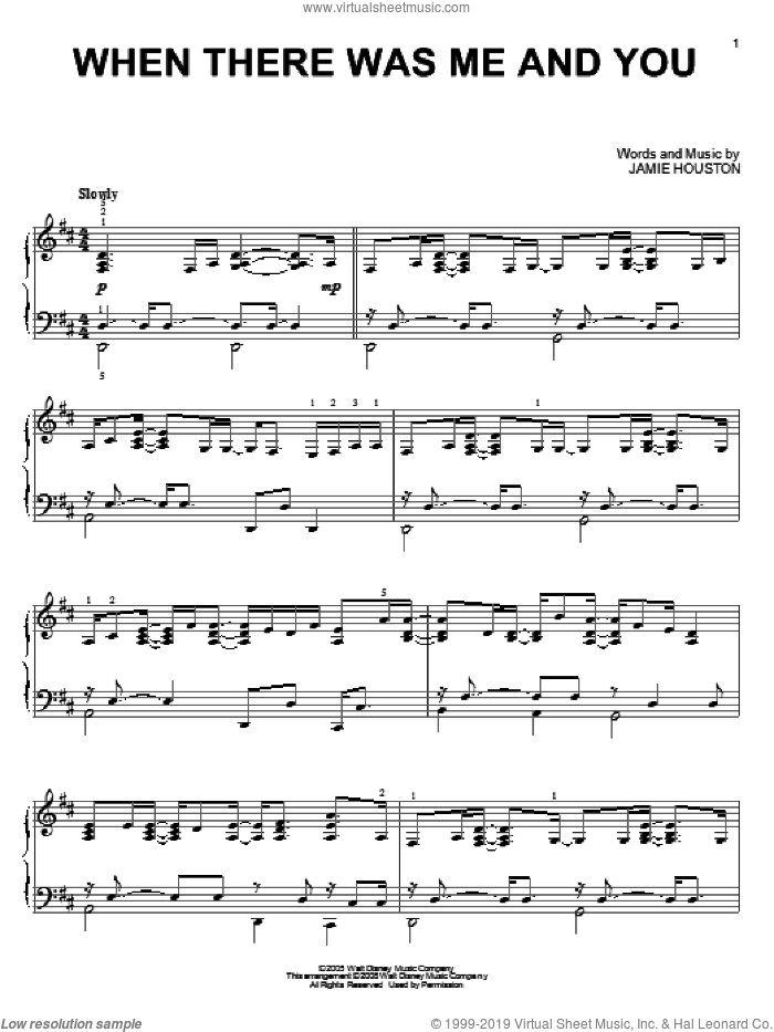 When There Was Me And You sheet music for piano solo by High School Musical and Jamie Houston, intermediate skill level