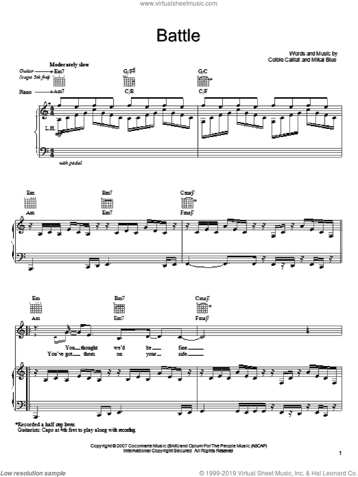Battle sheet music for voice, piano or guitar by Colbie Caillat and Mikal Blue, intermediate skill level