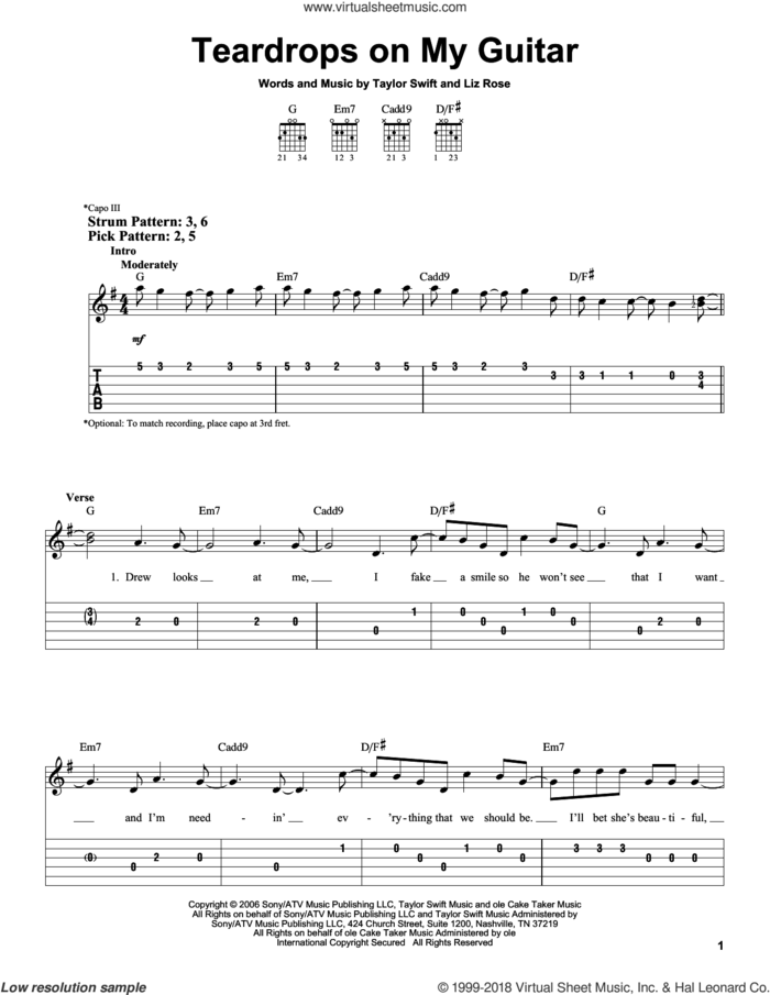 Teardrops On My Guitar sheet music for guitar solo (easy tablature) by Taylor Swift and Liz Rose, easy guitar (easy tablature)