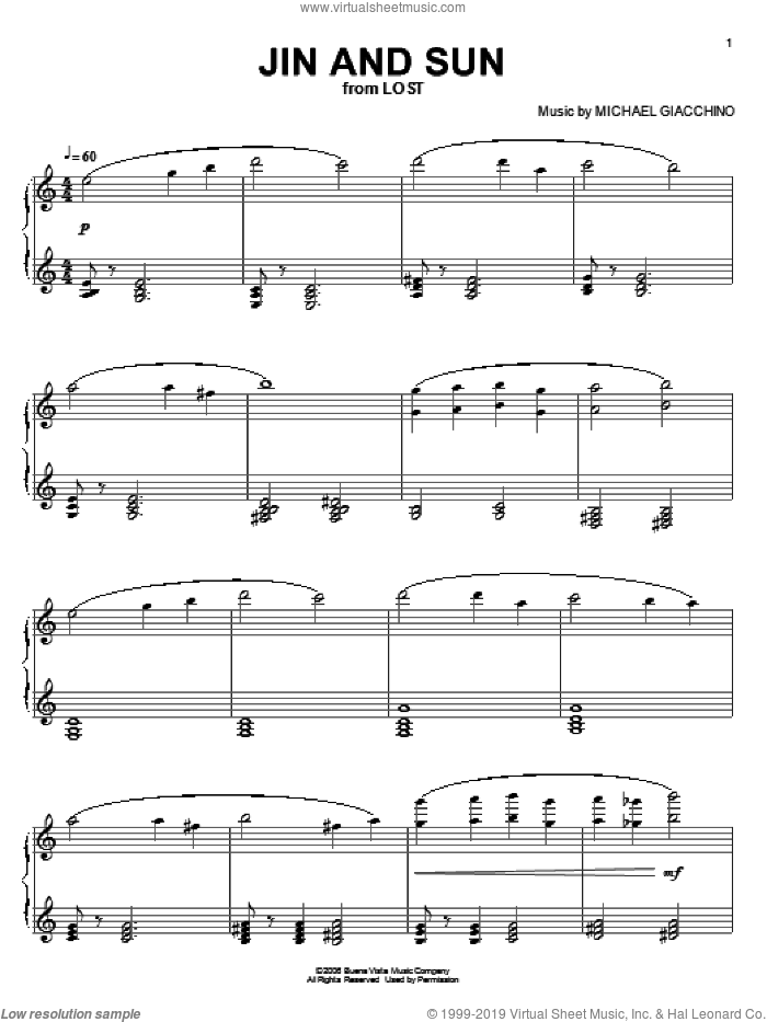 Jin And Sun sheet music for piano solo by Michael Giacchino and Lost (TV Series), intermediate skill level
