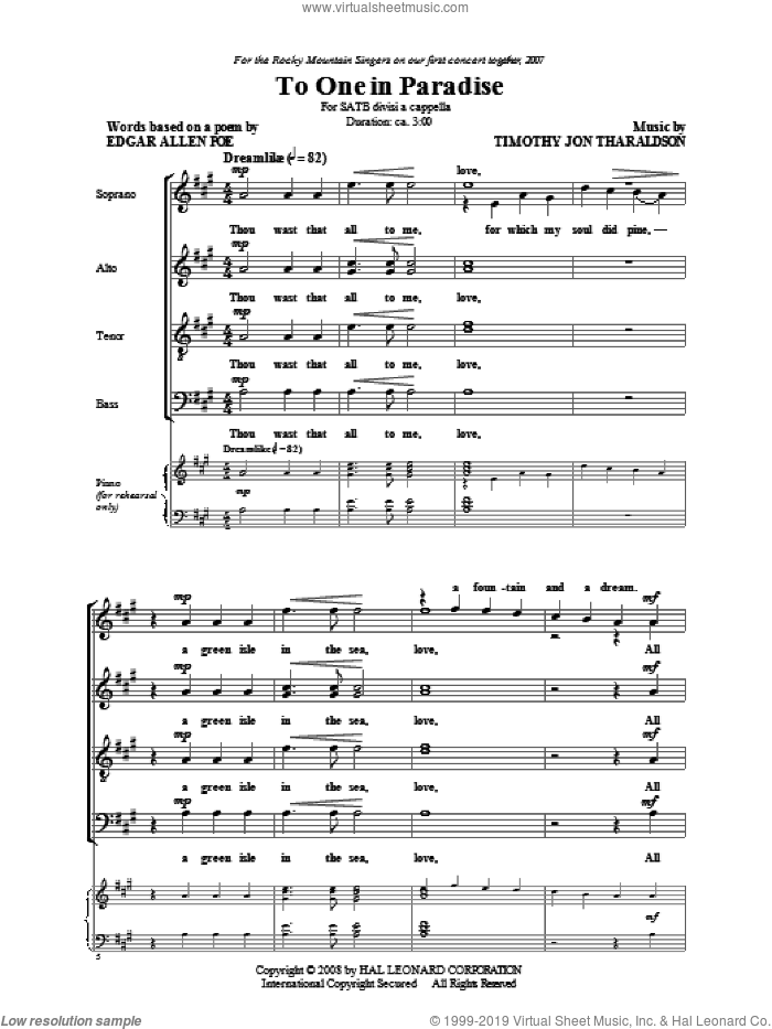 To One In Paradise sheet music for choir (SATB: soprano, alto, tenor, bass) by Timothy Tharaldson and Edgar Allan Poe, intermediate skill level