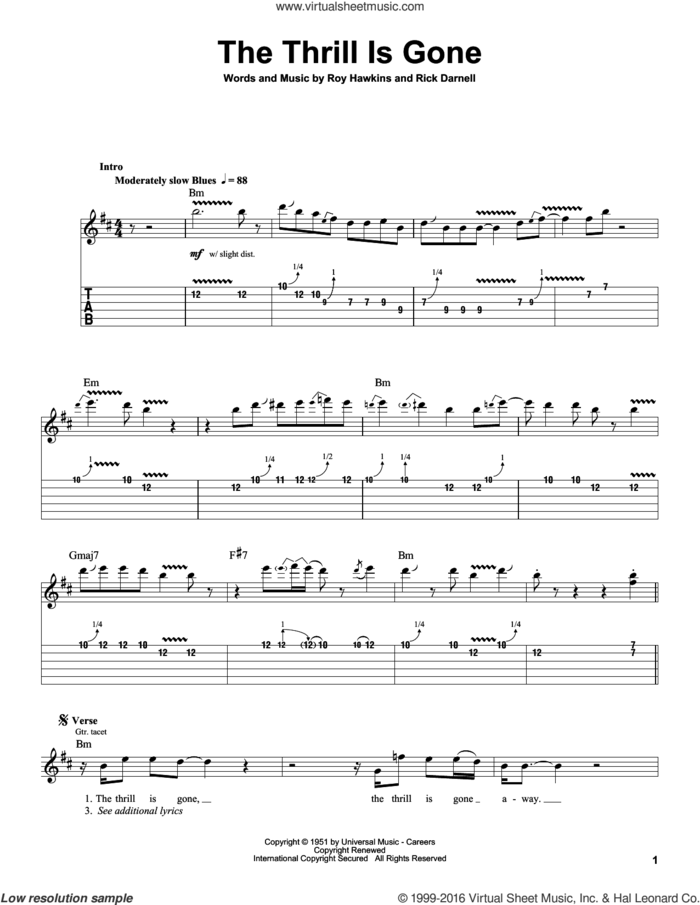 The Thrill Is Gone sheet music for guitar (tablature, play-along) by B.B. King, Rick Darnell and Roy Hawkins, intermediate skill level