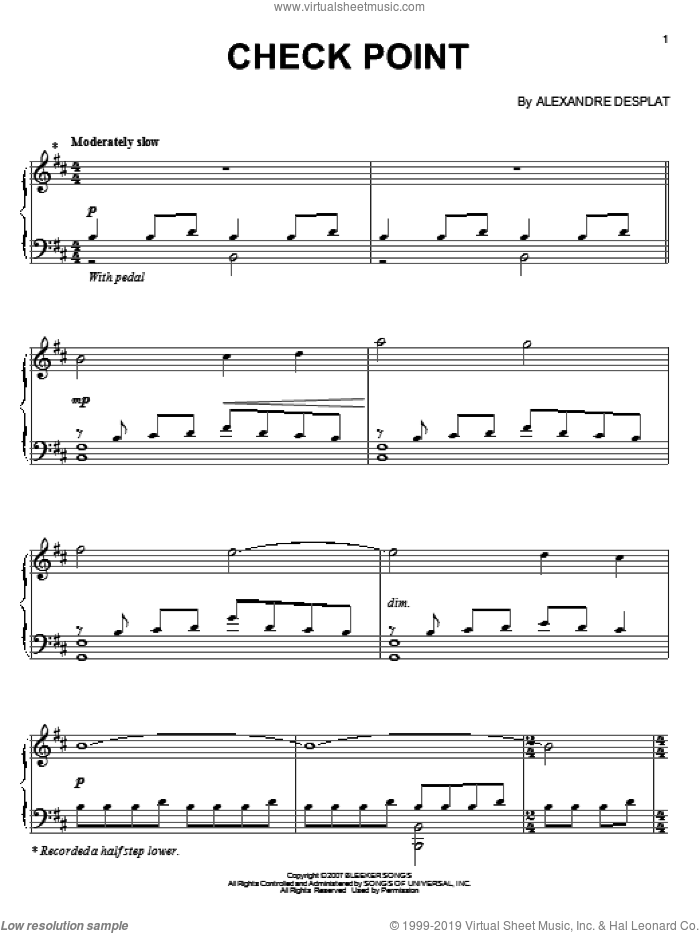 Check Point sheet music for piano solo by Alexandre Desplat and Lust, Caution (Movie), intermediate skill level