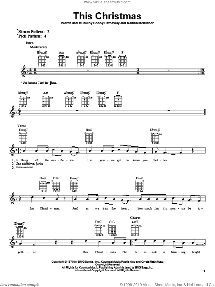 This Christmas sheet music for guitar (tablature, play-along) by Donny Hathaway and Nadine McKinnor, intermediate skill level