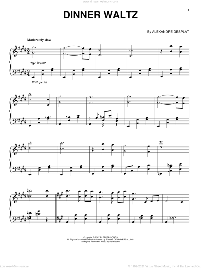 Dinner Waltz sheet music for piano solo by Alexandre Desplat and Lust, Caution (Movie), intermediate skill level