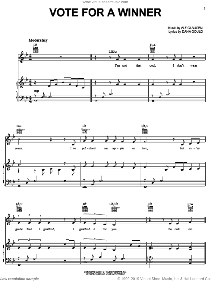 Vote For A Winner sheet music for voice, piano or guitar by The Simpsons, Alf Clausen and Dana Gould, intermediate skill level