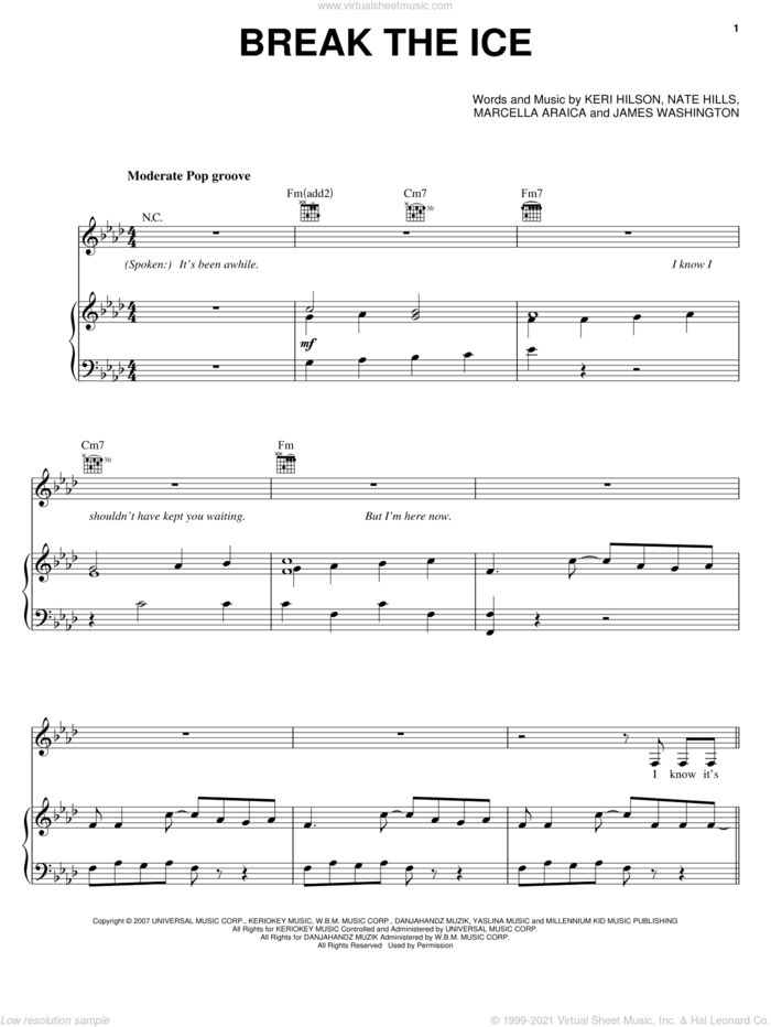 Break The Ice sheet music for voice, piano or guitar by Britney Spears, James Washington, Keri Hilson, Marcella Araica and Nate Hills, intermediate skill level