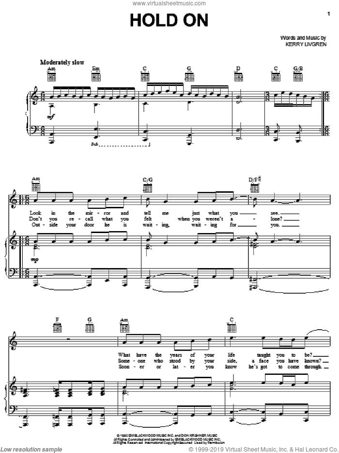 Hold On sheet music for voice, piano or guitar by Kansas and Kerry Livgren, intermediate skill level