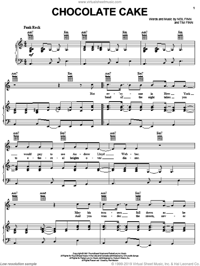 Chocolate Cake sheet music for voice, piano or guitar by Crowded House, Neil Finn and Tim Finn, intermediate skill level