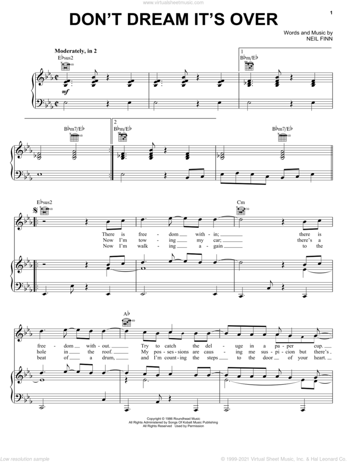 Don't Dream It's Over sheet music for voice, piano or guitar by Crowded House and Neil Finn, intermediate skill level