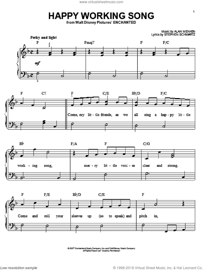 Happy Working Song sheet music for piano solo by Amy Adams, Enchanted (Movie), Alan Menken and Stephen Schwartz, easy skill level