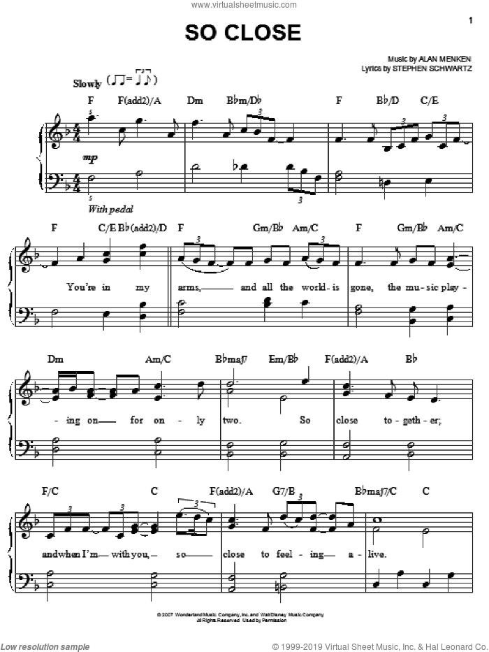So Close sheet music for piano solo by Alan Menken, Enchanted (Movie), John McLaughlin and Stephen Schwartz, easy skill level