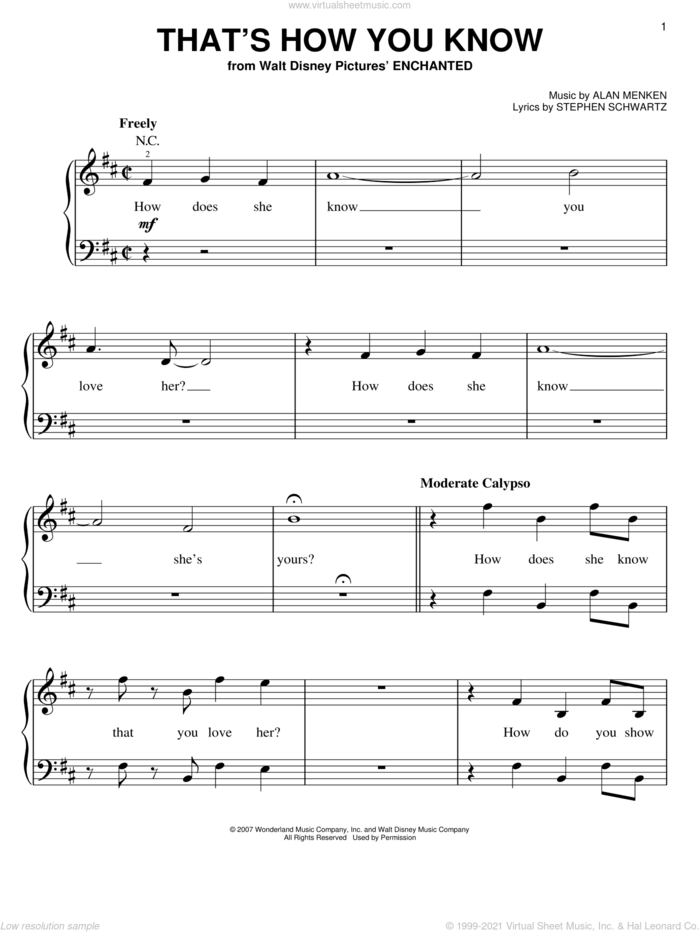 That's How You Know (from Enchanted) sheet music for piano solo by Amy Adams, Enchanted (Movie), Alan Menken and Stephen Schwartz, easy skill level