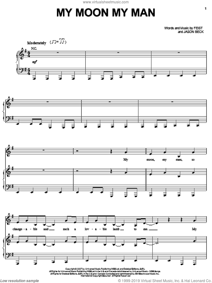 My Moon My Man sheet music for voice, piano or guitar by Leslie Feist and Jason Beck, intermediate skill level
