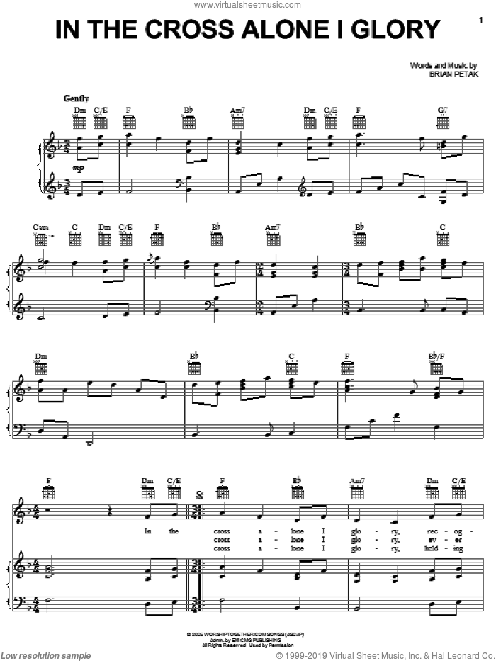 In The Cross Alone I Glory sheet music for voice, piano or guitar by Brian Petak, intermediate skill level