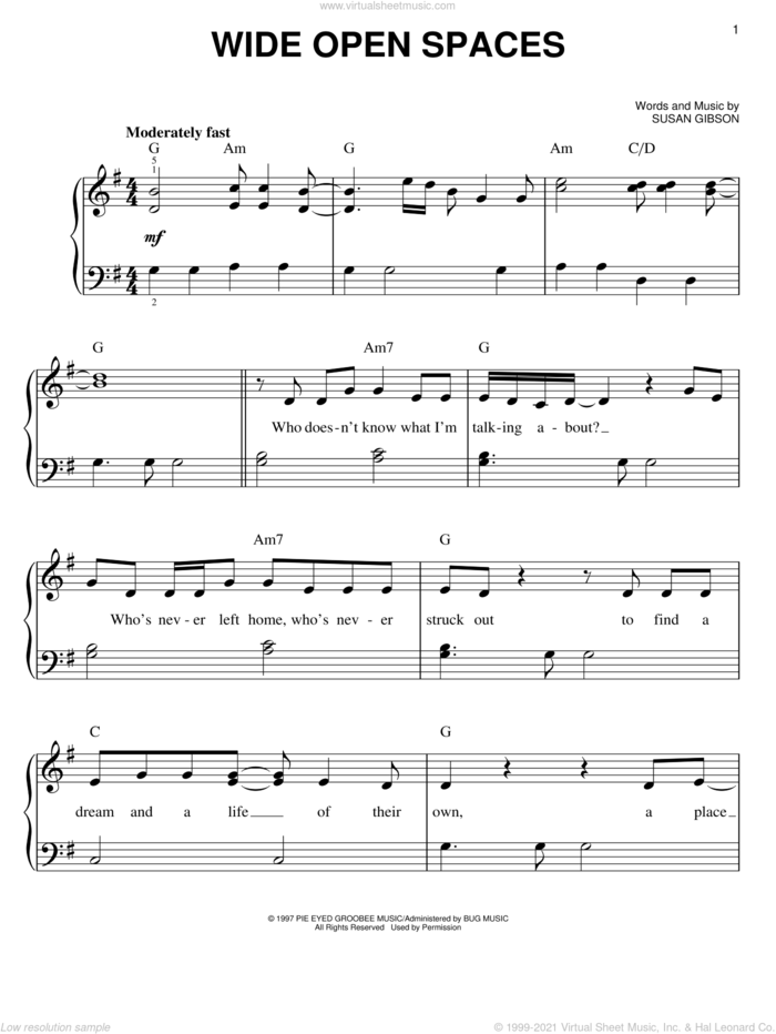 Wide Open Spaces sheet music for piano solo by The Chicks, Dixie Chicks and Susan Gibson, easy skill level