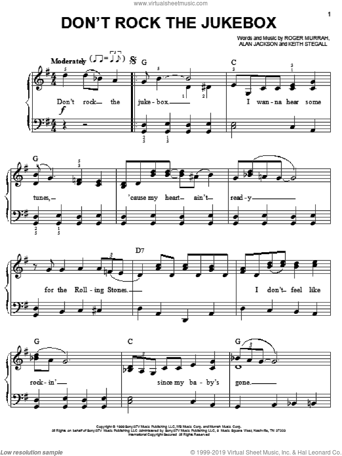 Don't Rock The Jukebox sheet music for piano solo by Alan Jackson, Keith Stegall and Roger Murrah, easy skill level