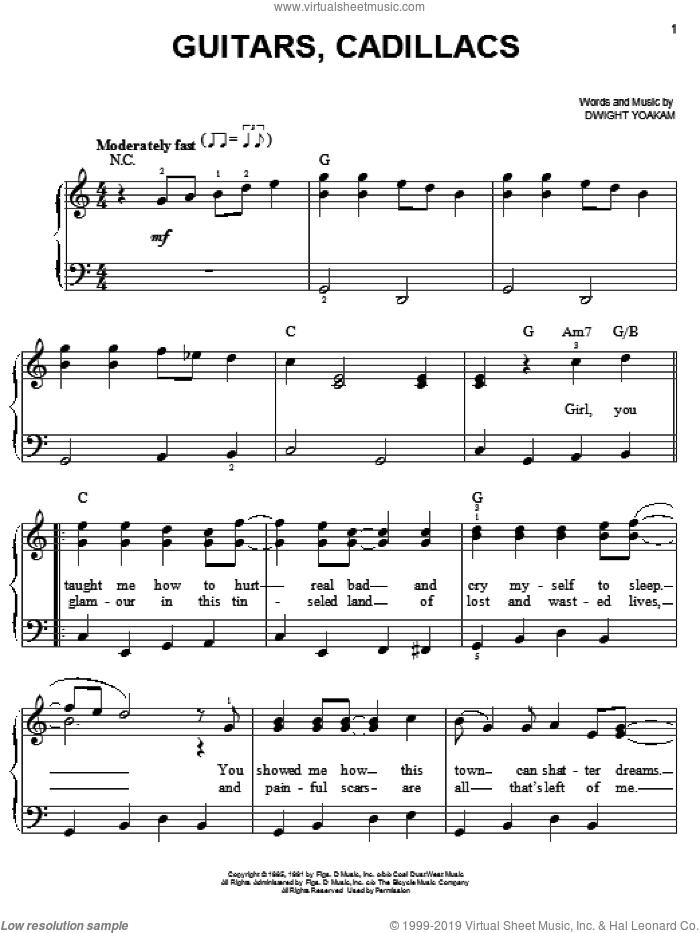 Guitars, Cadillacs sheet music for piano solo by Dwight Yoakam, easy skill level