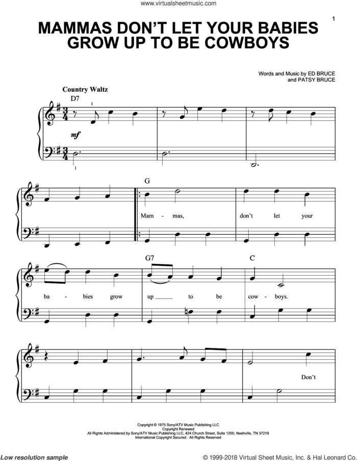 Mammas Don't Let Your Babies Grow Up To Be Cowboys sheet music for piano solo by Ed Bruce, Waylon Jennings, Willie Nelson and Patsy Bruce, beginner skill level