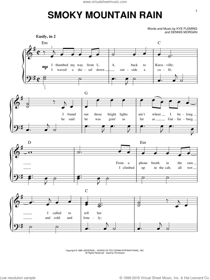 Smoky Mountain Rain sheet music for piano solo by Ronnie Milsap, Dennis Morgan and Kye Fleming, beginner skill level
