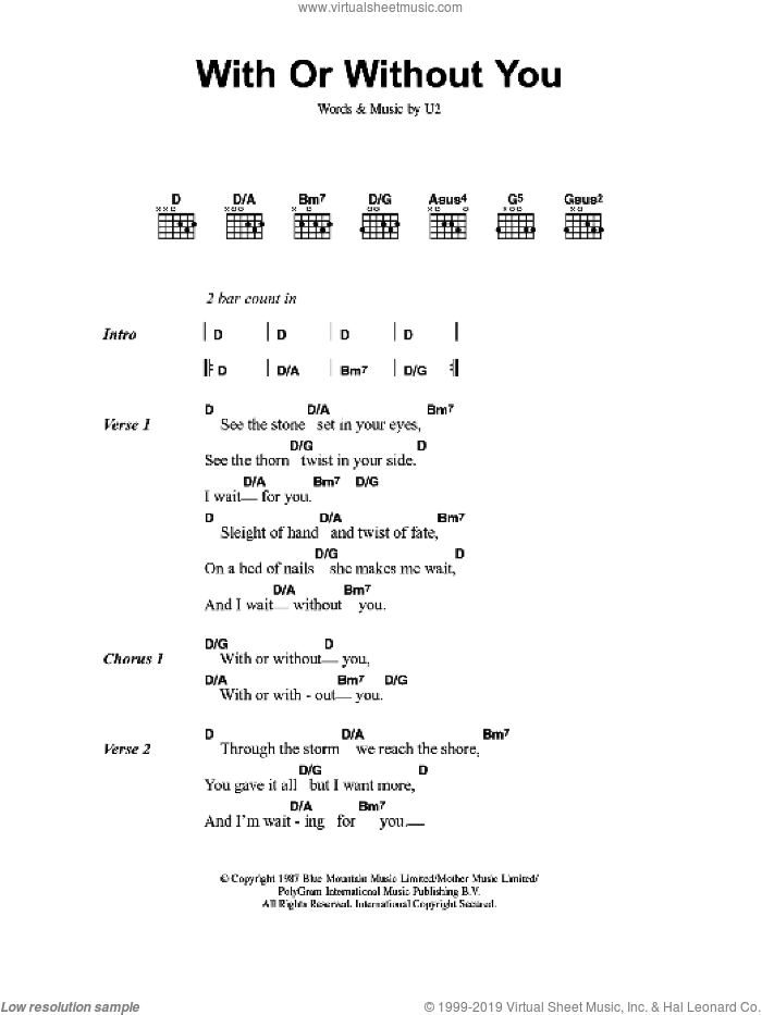 With Or Without You sheet music for guitar (chords) by U2, intermediate skill level