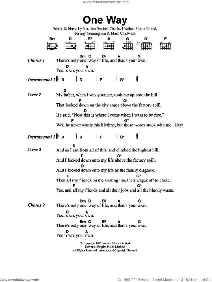 One Way sheet music for guitar (chords) by The Levellers, Charles Heather, Jeremy Cunningham, Jonathan Sevink, Mark Chadwick and Simon Friend, intermediate skill level