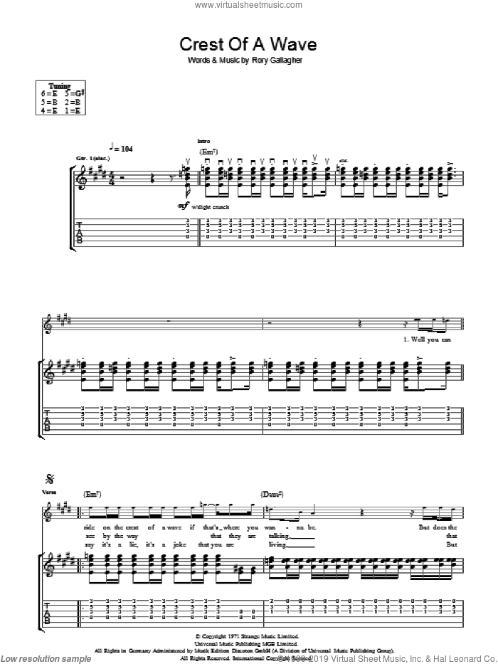 Crest Of A Wave sheet music for guitar (tablature) by Rory Gallagher, intermediate skill level