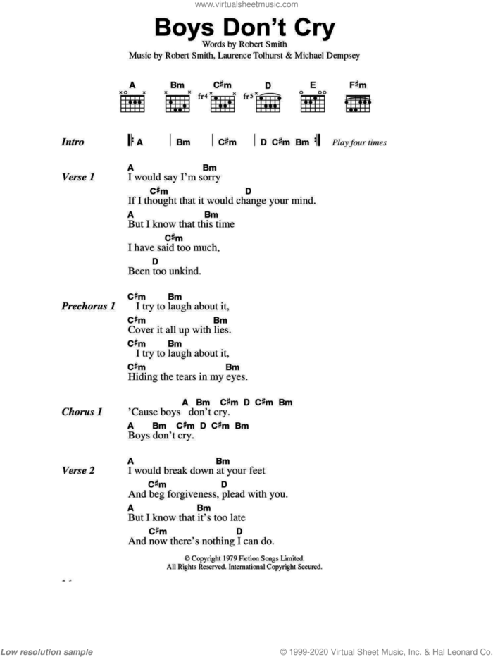 Boys Don't Cry sheet music for guitar (chords) by The Cure, Laurence Tolhurst, Michael Dempsey and Robert Smith, intermediate skill level