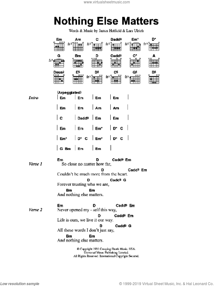 Nothing Else Matters sheet music for guitar (chords) by Metallica, James Hetfield and Lars Ulrich, intermediate skill level