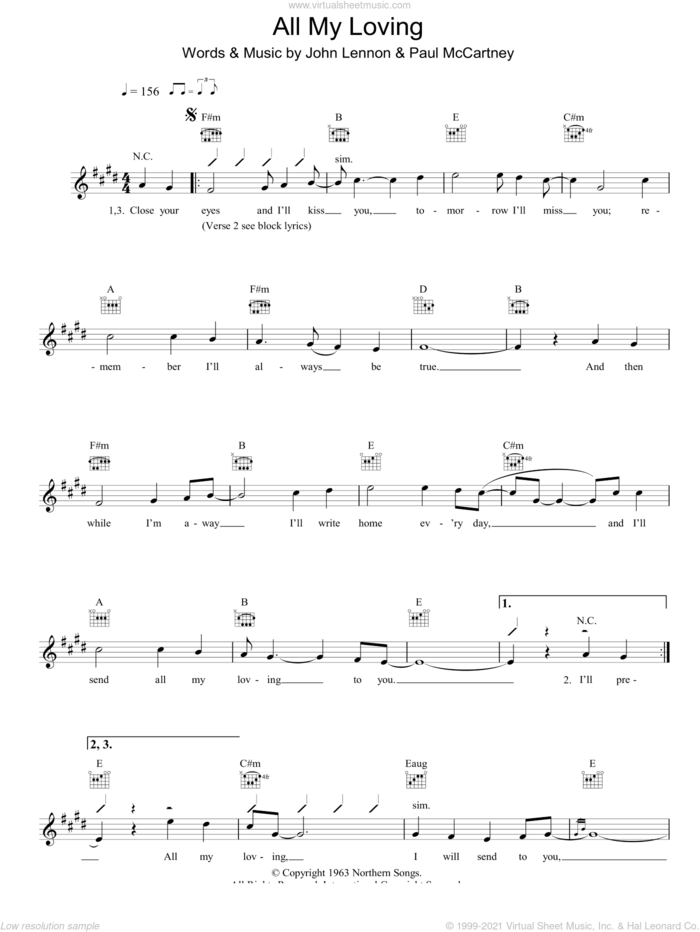 All My Loving sheet music for voice and other instruments (fake book) by The Beatles, John Lennon and Paul McCartney, intermediate skill level