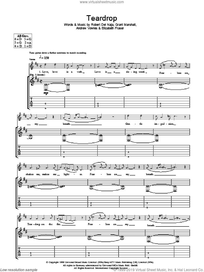 Teardrop sheet music for guitar (tablature) by Newton Faulkner, Andrew Vowles, Elizabeth Fraser, Grant Marshall and Robert Del Naja, intermediate skill level