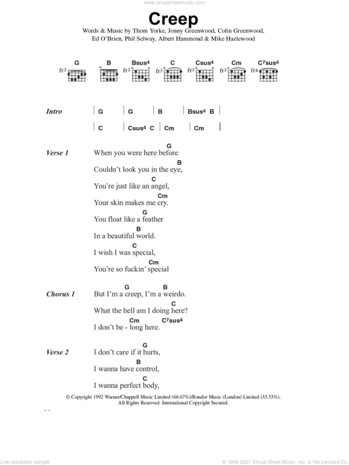 Creep sheet music for guitar (chords) by Radiohead, Albert Hammond, Colin Greenwood, Jonny Greenwood, Michael Hazlewood, Phil Selway and Thom Yorke, intermediate skill level