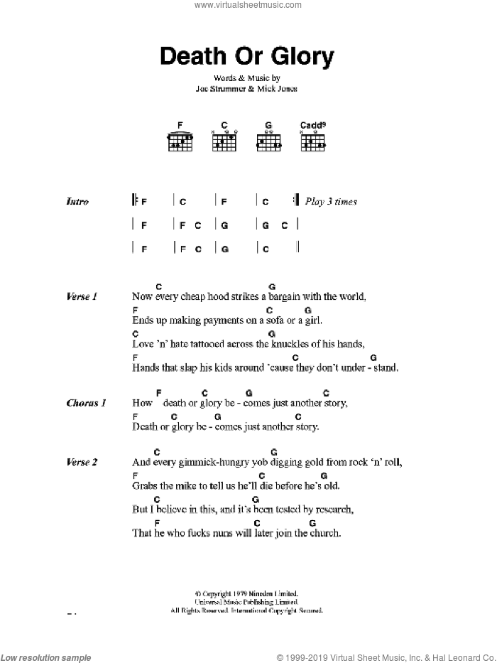 Death Or Glory sheet music for guitar (chords) by The Clash, Joe Strummer and Mick Jones, intermediate skill level