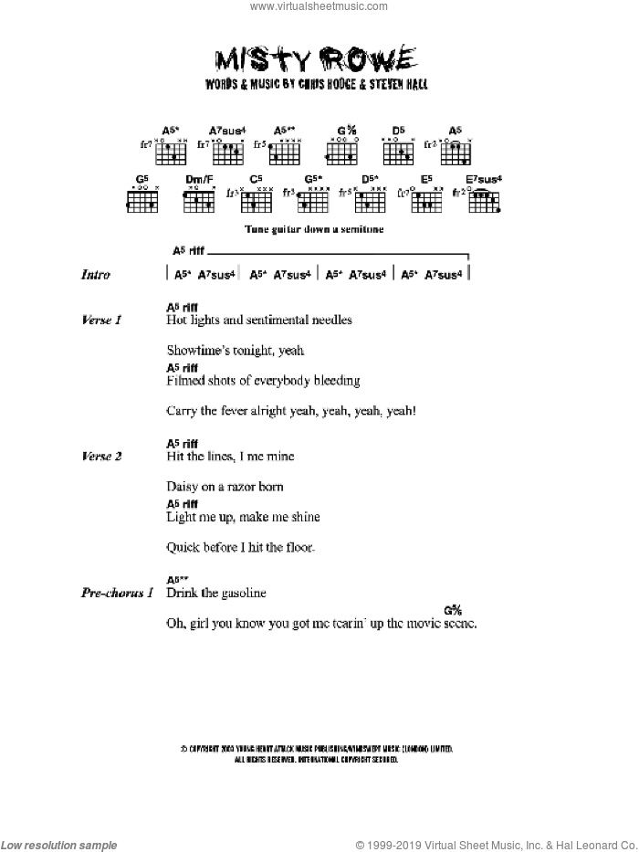 Misty Rowe sheet music for guitar (chords) by Young Heart Attack, Chris Hodge and Steven Hall, intermediate skill level