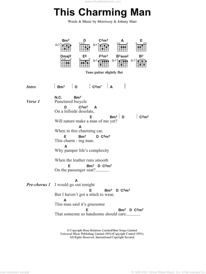 This Charming Man sheet music for guitar (chords) by The Smiths, Johnny Marr and Steven Morrissey, intermediate skill level