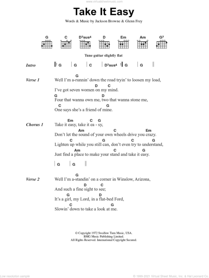 Take It Easy sheet music for guitar (chords) by Glenn Frey, The Eagles and Jackson Browne, intermediate skill level