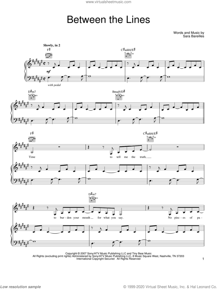 Between The Lines sheet music for voice, piano or guitar by Sara Bareilles, intermediate skill level
