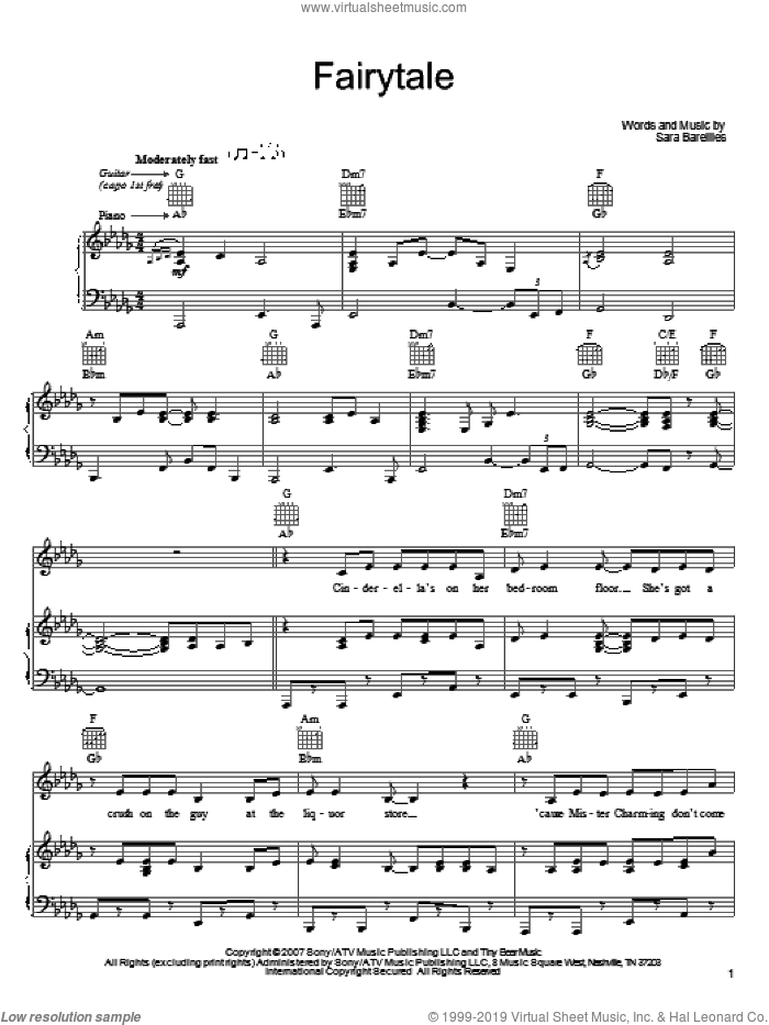 Fairytale sheet music for voice, piano or guitar by Sara Bareilles, intermediate skill level