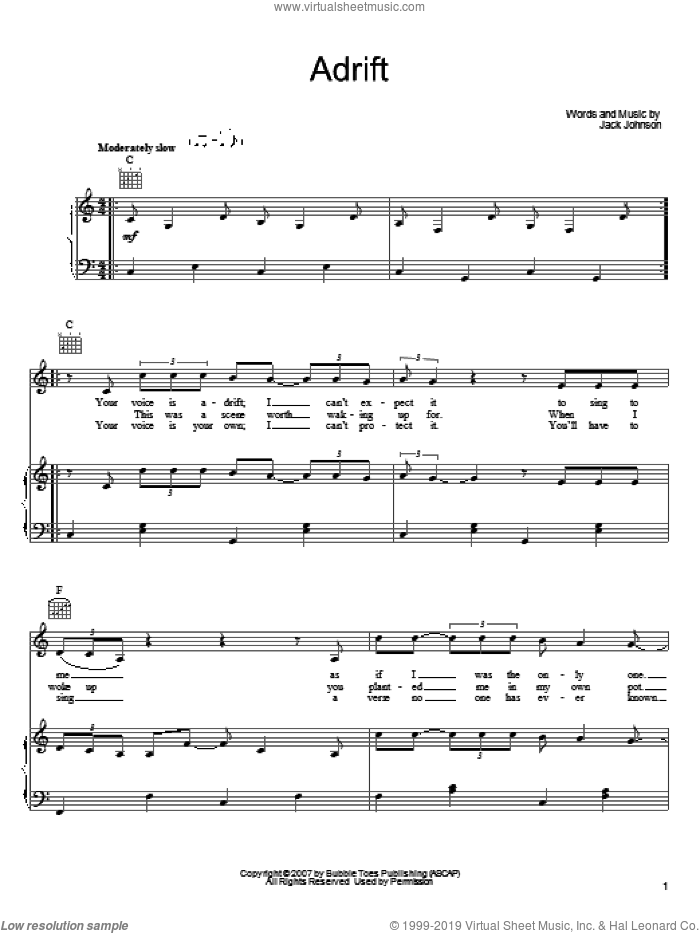 Adrift sheet music for voice, piano or guitar by Jack Johnson, intermediate skill level